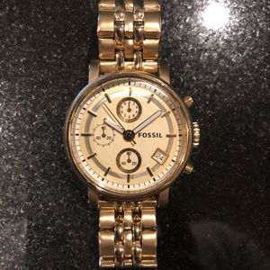 FOSSIL CHRONOGRAPH GOLD-TONE STAINLESS STEEL
